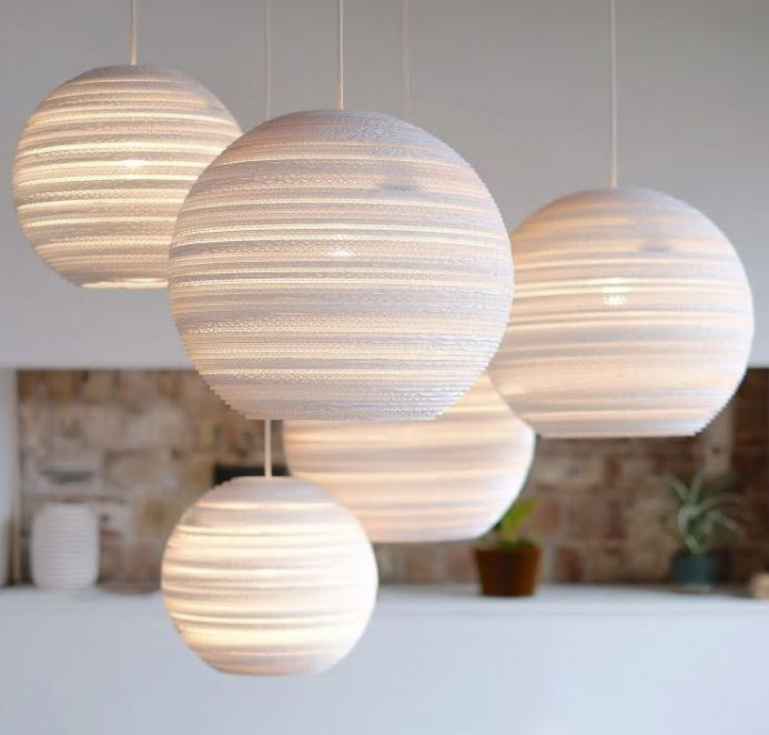 Moon Pendant Light made from recycled cardboard